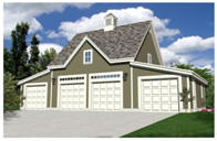 Carriage House Four Car Garage Plans with Loft