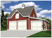 Carriage House Style Three-Car Garage Plans