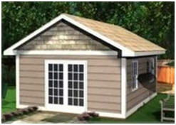 This little building would make a great storage shed. But, it's attractive enough to be your pool house, backyard guest cottage, studio or home office.