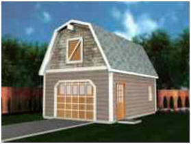 Barn Style, Gambrel Roof One-Car Garage Plans
