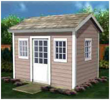 Use plans for this little building to build a children's playhouse, garden shed, backyard studio or home office.