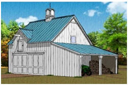 Two-Car Pole-Barn wiyh Loft and Storage Shelter