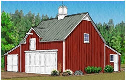 Three-Car Pole-Barn with Back Workshop