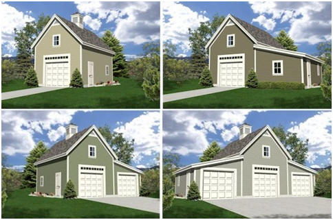Expandable Detached Garage Plans with Loft and Optional Workshop