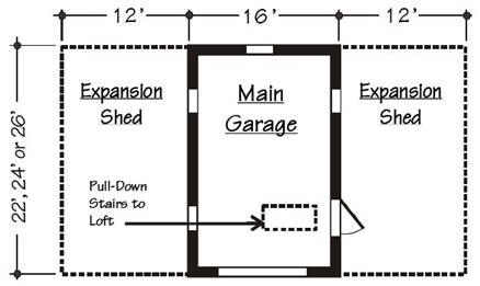 Expandable Detached Garage and Workshop Floor Plan