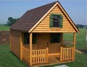Log Cabin Style Playhouse with Loft