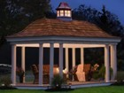 Vinyl and Cedar Oval Gazebo at Night