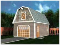 Gambrel Roof One-Car Garage Plans with Loft