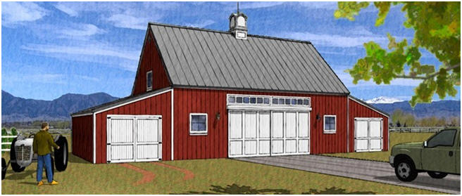 Barn plans country garage plans and workshop plans for Pole barn garage designs
