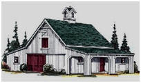 Pole-Frame Two or Four Stall Horse Barn Plans