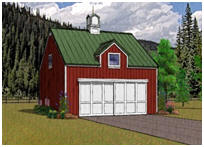 2-Car Pole-Frame Garage Plans with Loft