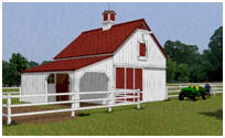 Three Stall Post-Frame Horse Barn Plans