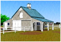 Two Stall Horse Barn Plans with Shop and Grooming Shelter