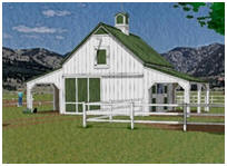 Pole Barn for Horses with Run-In Sheds