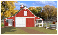 Small Three-Stall Horse Barn Plans with Hay Loft and Grooming Shelters