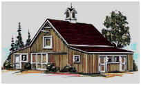 Two or Four Stall Horse Barn Plans with Workshop