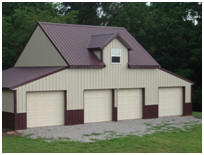 Four-Car Pole barn with Steel Roof and Siding
