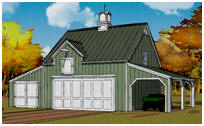 Pole-Barn 3-Car Garage Plans with Caroprt