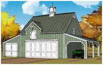 Carriage House Style Pole-Barn Plans with Loft and Carport