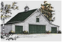 Pole-Frame Four-Car Carriage House Plans
