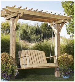 Get accurate and inexpensive plans to help you build this Arbor Swing at WoodStore.net