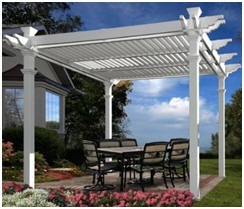Do you know that you can buy pergolas at Amazon.com? This pretty white vinyl pergola kit is built by New England Arbors.