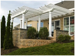 Improve your yard or landscape with an elegant wood, fiberglass or vinyl pergola kit from BackyardAmerica.com