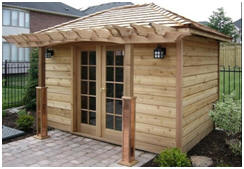 CabanaVillage.com - Get plans or cedar building kits for the little cottage, cabin, guest house, pool house or backyard studio that you design, yourself, online.