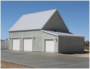This garage, by the beach in California, was built without windows and trim shown on the standard Almond Pole Barn drawings.