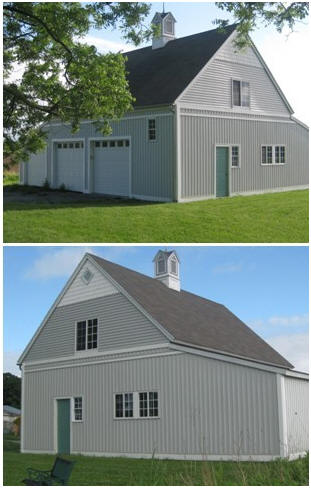 The Almond Barn in upstate New York was built as a contractor's model. You can build your own from inexpensive plans by architect Don Berg. Read more at BackroadHome.net