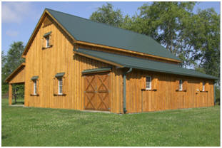 The Applewood Barn has a loft and optional horse stalls, open shelters, garages, workshops and more. Inexpensive stock plans are available at BackroadHome.net