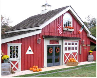 The Hunter's Run Wine Tasting Barn in Hamilton, Virginia was created from inexpensive, stock pole barn plans. Click through to see how you might build your one-of-a-kind barn, garage, carriage house, retail shop, wood shop or backyard studio from architect Don Berg's plans.