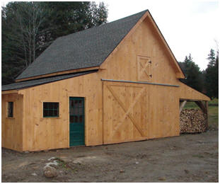 The Applewood Pole-Barn with a custom wood shed. Read more about the inexpensive stock plans at BackroadHome.net