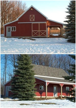 A customized version of the Applewood Barn, built from inexpensive, stock pole-barn plans.
