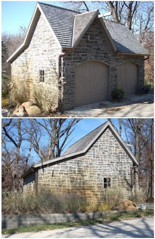 Here's a stone-sided, customized version of the Ashokan Country Garage. It was built from $35.00 stock, post-frame plans by architect Don Berg. Read more about the plans and see other versions of Ashokan barns, garages and workshops at BackroadHome.net