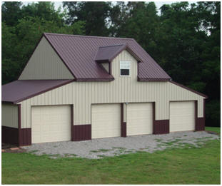 Bethany Coach House - This garage was customized, with metal siding and roofing, from stock wooden pole-barn plans.