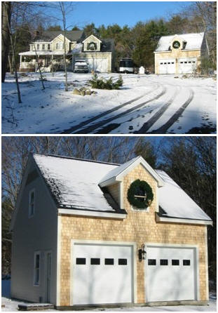 A Down-East Country Garage - The Bethany Garage, from stock pole-frame plans by architect Don Berg, looks great in the Maine woods.