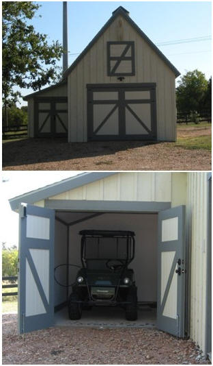 Architect Don Berg's little Candlewood Barn, customized as a garage and ATV shelter. Click to read more about Don's stock plans.
