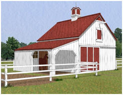 The Chestnut Three-Stall Horse Barn - One of nine different horse barn layouts that you can get on one inexpensive set of pole-barn plans at BackroadHome.net