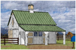 Small Pole-Frame Horse Barn Plans by Donald J. Berg, AIA