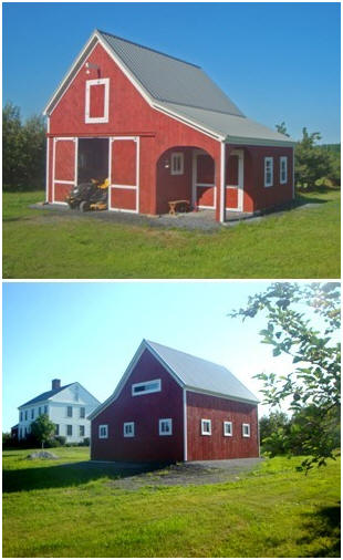 A Vermont Apple Orchard Barn - This little pole barn shelters a small tractor and apple orchard tools and supplies. It is a slightly customized version of the Cold Spring Barn, designed by architect Don Berg. Stock plans are available for $35.00 at BackroadHome.net