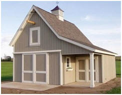 Cold Spring Pole-Frame Garage, Shed and Loft Office - From plans available at BackroadHomes.com
