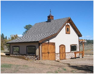 A Southwest Style Workshop - This beautiful Colorado building was built with the help of inexpensive pole-barn construction plans at BackroadHome.net