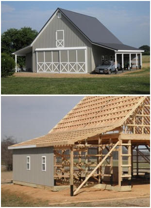 A Maryland pole-frame country garage - from the inexpensive Walnut Coach House plan set by architect Don Berg