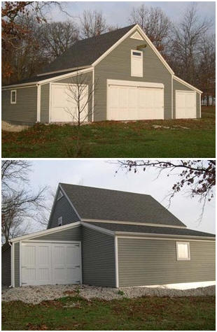 The Walnut Coach House is a Carriage House style four-car garage with a full loft and an optional workshop at the back. It's one of fifteen different layouts that come in architect Don Berg's inexpensive Walnut Pole Barn plan set at BackroadHome.net