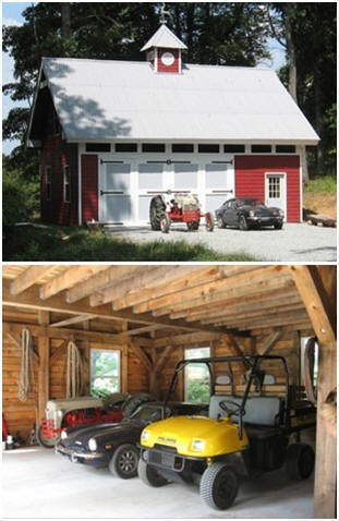 How about your own hobby barn? This one was built for an old tractor, a classic Triumph sports car and an ATV. But, yours could be an art studio, wood shop, crafts barn, backyard office or, whatever. Inexpensive stock plans for the Woodbury Pole Barn are available at BackroadHome.net
