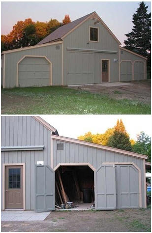 MG Roadster Barn - The inexpensive, stock Applewood Pole Barn Plans were designed to be adaptable. The owner of this Ontario example built one add-on extension to shelter two classic MG roadsters. You can find plans and kits for your car barn, garage or coach house at BackroadHome.net