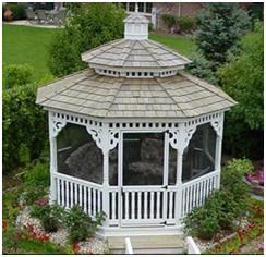 Beautiful Gazebos from HomePlaceStructures.com - Create a custom cedar or vinyl gazebo online and have it shipped to your backyard. Or, choose from a great selection of stock octagonal, oval and rectangular designs.