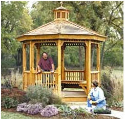 Build Your Own Backyard Gazebo - Click to learn more about DIY plans from top woodworking magazines as well as hard-to-find, decorative gingerbread accents, posts and brackets. (Photo: PlansNow.com)