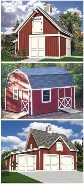 Barn Building Plans - Download professional building plans for dozens of small barns, workshops, car barns, country garages, pole barns and big, barn-style sheds.